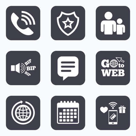 rang: Mobile payments, wifi and calendar icons. Group of people and share icons. Speech bubble and round the world arrow symbols. Communication signs. Go to web symbol.