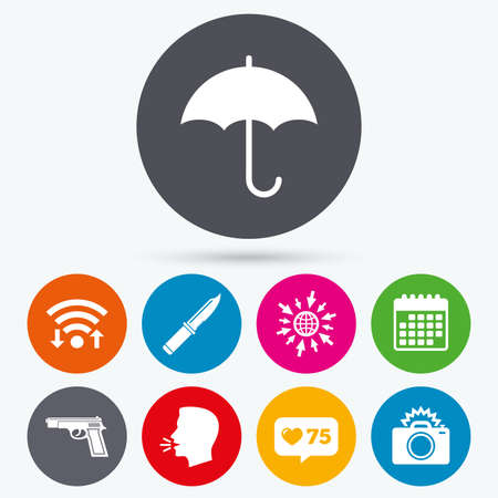 edged: Wifi, like counter and calendar icons. Gun weapon icon.Knife, umbrella and photo camera with flash signs. Edged hunting equipment. Prohibition objects. Human talk, go to web. Illustration