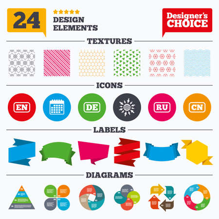 english textures: Banner tags, stickers and chart graph. Language icons. EN, DE, RU and CN translation symbols. English, German, Russian and Chinese languages. Linear patterns and textures.