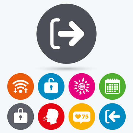 lock out: Wifi, like counter and calendar icons. Login and Logout icons. Sign in or Sign out symbols. Lock icon. Human talk, go to web.