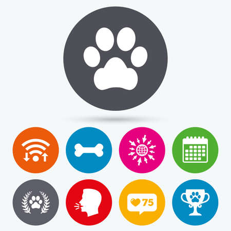 treat like a dog: Wifi, like counter and calendar icons. Pets icons. Dog paw sign. Winner laurel wreath and cup symbol. Pets food. Human talk, go to web.