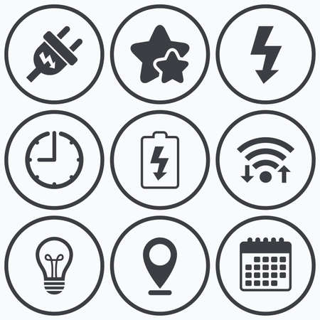 spiral cord: Clock, wifi and stars icons. Electric plug icon. Lamp bulb and battery symbols. Low electricity and idea signs. Calendar symbol.