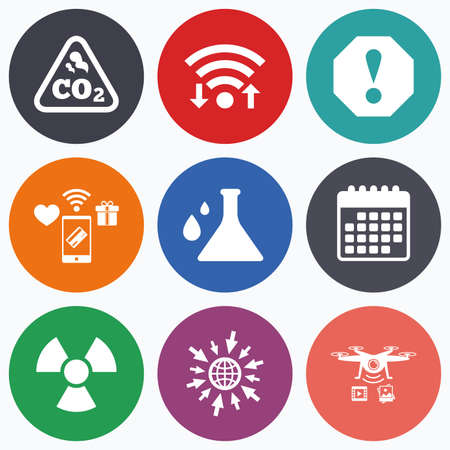 danger carbon dioxide  co2  labels: Wifi, mobile payments and drones icons. Attention and radiation icons. Chemistry flask sign. CO2 carbon dioxide symbol. Calendar symbol.