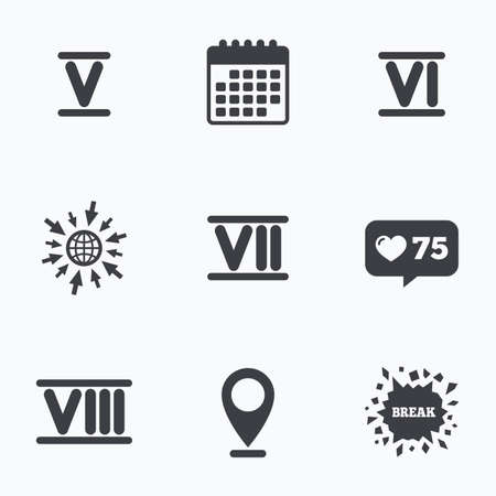 ancient roman: Calendar, like counter and go to web icons. Roman numeral icons. 5, 6, 7 and 8 digit characters. Ancient Rome numeric system. Location pointer. Illustration