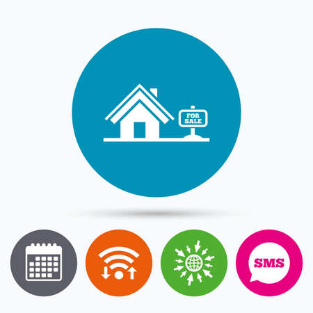 house for sale: Wifi, Sms and calendar icons. Home sign icon. House for sale. Broker symbol. Go to web globe. Illustration