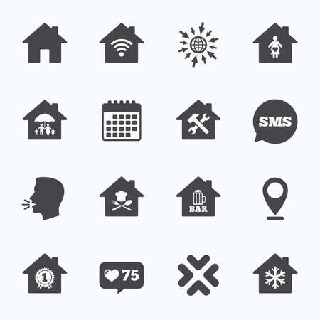 speech bubble hospital: Calendar, go to web and like counter. Real estate icons. Home insurance, maternity hospital and wifi internet signs. Restaurant, service and air conditioning symbols. Sms speech bubble, talk symbols.