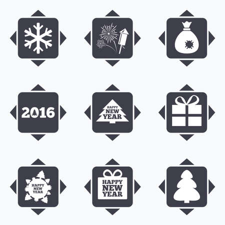 new direction: Icons with direction arrows. Christmas, new year icons. Gift box, fireworks and snowflake signs. Santa bag, salut and rocket symbols. Square buttons. Illustration