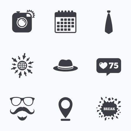 glasses icon: Calendar, like counter and go to web icons. Hipster photo camera. Mustache with beard icon. Glasses and tie symbols. Classic hat headdress sign. Location pointer. Illustration
