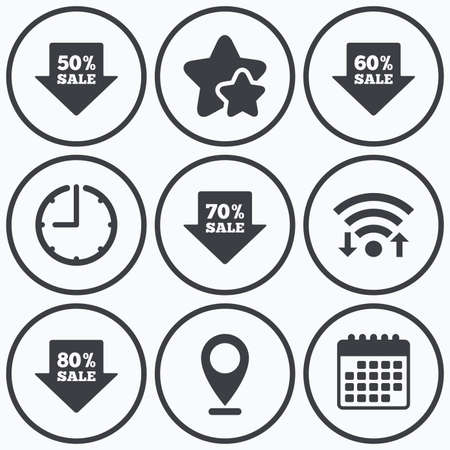 60 70: Clock, wifi and stars icons. Sale arrow tag icons. Discount special offer symbols. 50%, 60%, 70% and 80% percent sale signs. Calendar symbol.