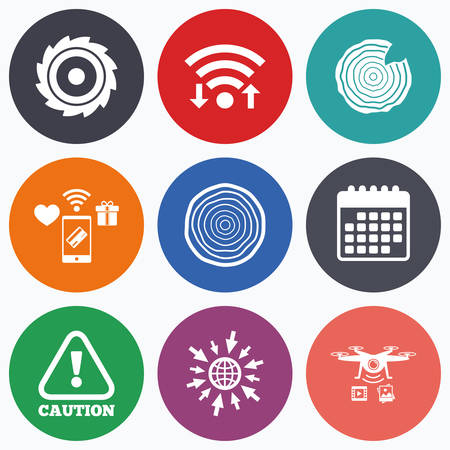 woodworking: Wifi, mobile payments and drones icons. Wood and saw circular wheel icons. Attention caution symbol. Sawmill or woodworking factory signs. Calendar symbol. Illustration