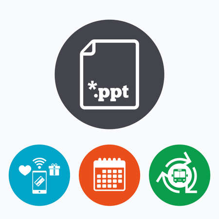 file extension: File presentation icon. Download PPT button. PPT file extension symbol. Mobile payments, calendar and wifi icons. Bus shuttle.