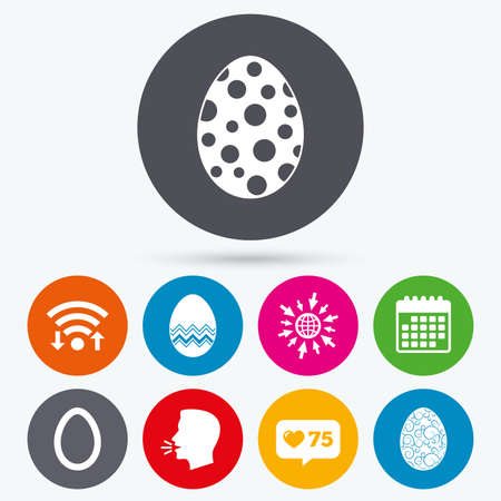 pasch: Wifi, like counter and calendar icons. Easter eggs icons. Circles and floral patterns symbols. Tradition Pasch signs. Human talk, go to web. Illustration