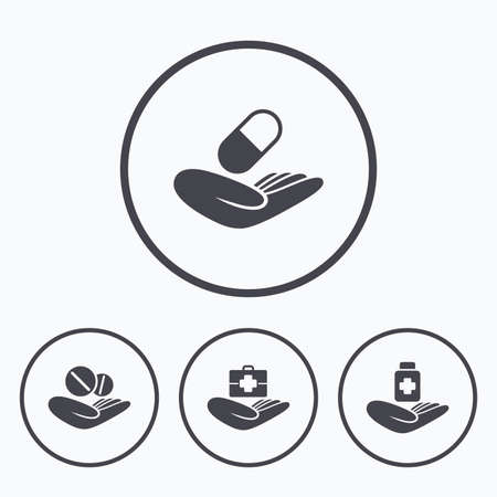 drugs pills: Helping hands icons. Medical health insurance symbols. Drugs pills bottle signs. Medicine tablets. Icons in circles. Illustration