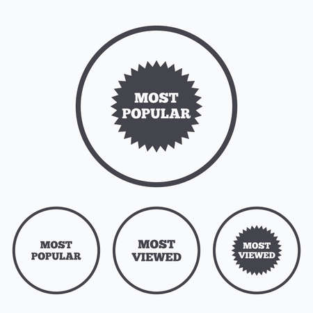viewed: Most popular star icon. Most viewed symbols. Clients or customers choice signs. Icons in circles.