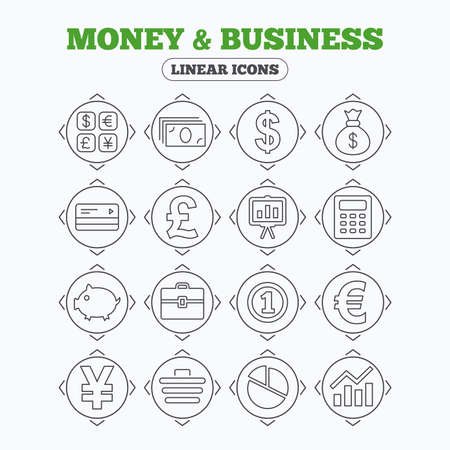 cashless: Linear icons with direction arrows. Money and business icons. Cash and cashless money. Usd, eur, gbp and jpy currency exchange. Presentation, calculator and shopping cart symbols. Circle buttons.