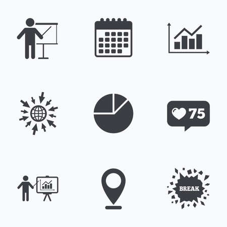 demand: Calendar, like counter and go to web icons. Diagram graph Pie chart icon. Presentation billboard symbol. Supply and demand. Man standing with pointer. Location pointer.