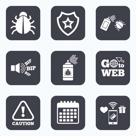 Mobile payments, wifi and calendar icons. Bug disinfection icons. Caution attention symbol. Insect fumigation spray sign. Go to web symbol. Illustration