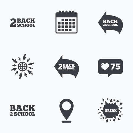 after school: Calendar, like counter and go to web icons. Back to school icons. Studies after the holidays signs symbols. Location pointer. Illustration