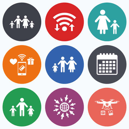 family with two children: Wifi, mobile payments and drones icons. Family with two children icon. Parents and kids symbols. One-parent family signs. Mother and father divorce. Calendar symbol.