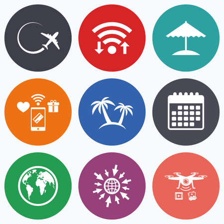 airplane world: Wifi, mobile payments and drones icons. Travel trip icon. Airplane, world globe symbols. Palm tree and Beach umbrella signs. Calendar symbol.