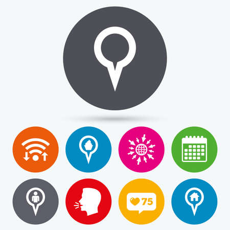 info button: Wifi, like counter and calendar icons. Map circle pointer icons. Home, food and user location symbols. Restaurant and cupcake signs. You are here. Human talk, go to web.