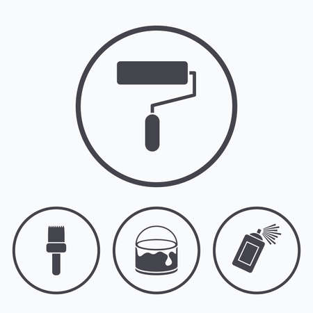 paint can: Painting roller, brush icons. Spray can and Bucket of paint signs. Wall repair tool and painting symbol. Icons in circles.