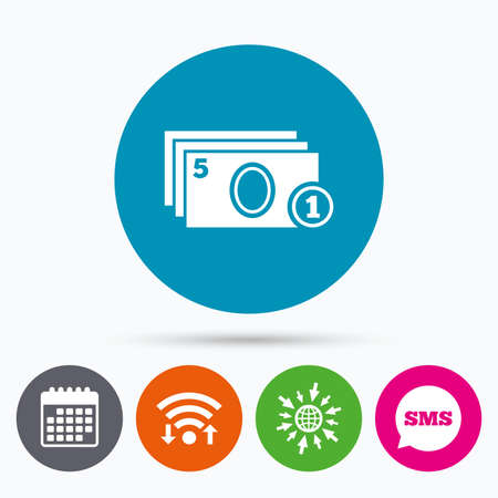 sms payment: Wifi, Sms and calendar icons. Cash and coin sign icon. Paper money symbol. For cash machines or ATM. Go to web globe.