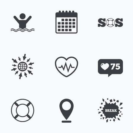Calendar, like counter and go to web icons. SOS lifebuoy icon. Heartbeat cardiogram symbol. Swimming sign. Man drowns. Location pointer.
