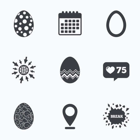 pasch: Calendar, like counter and go to web icons. Easter eggs icons. Circles and floral patterns symbols. Tradition Pasch signs. Location pointer. Illustration