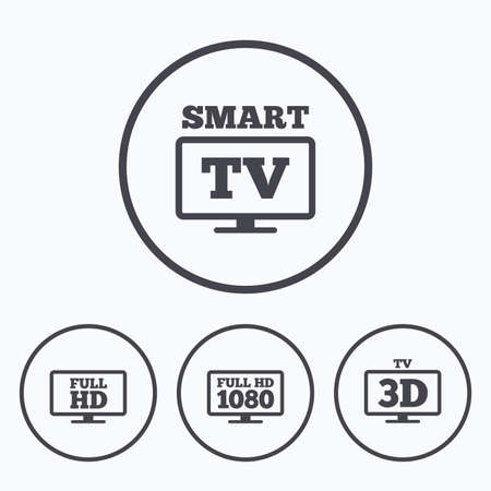 3d mode: Smart TV mode icon. Widescreen symbol. Full hd 1080p resolution. 3D Television sign. Icons in circles. Illustration