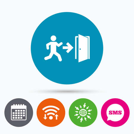 fire exit: Wifi, Sms and calendar icons. Emergency exit with human figure sign icon. Door with right arrow symbol. Fire exit. Go to web globe.