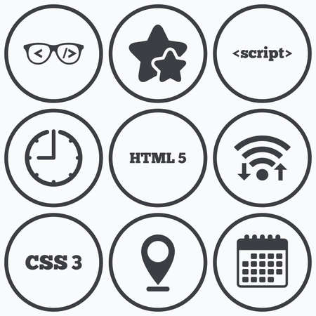 markup: Clock, wifi and stars icons. Programmer coder glasses icon. HTML5 markup language and CSS3 cascading style sheets sign symbols. Calendar symbol.