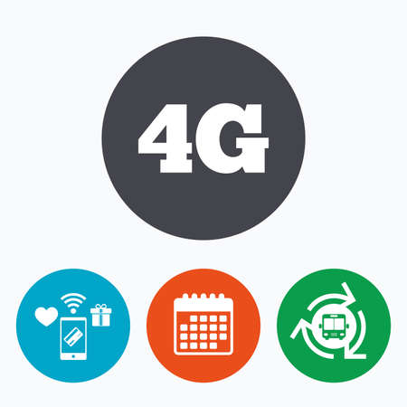 4g: 4G sign icon. Mobile telecommunications technology symbol. Mobile payments, calendar and wifi icons. Bus shuttle.