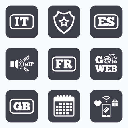 gb: Mobile payments, wifi and calendar icons. Language icons. IT, ES, FR and GB translation symbols. Italy, Spain, France and England languages. Go to web symbol.