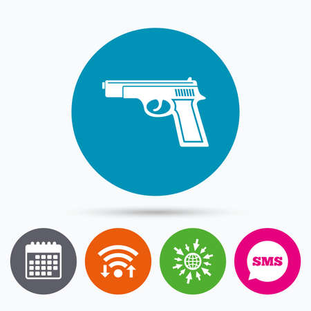 firearms: Wifi, Sms and calendar icons. Gun sign icon. Firearms weapon symbol. Go to web globe. Illustration
