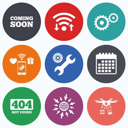 Wifi, pagos móviles y los iconos de aviones no tripulados. Próximamente icono. herramienta de servicio de reparación y símbolos de engranajes. signo de la llave. 404 No encontrado. símbolo de calendario.