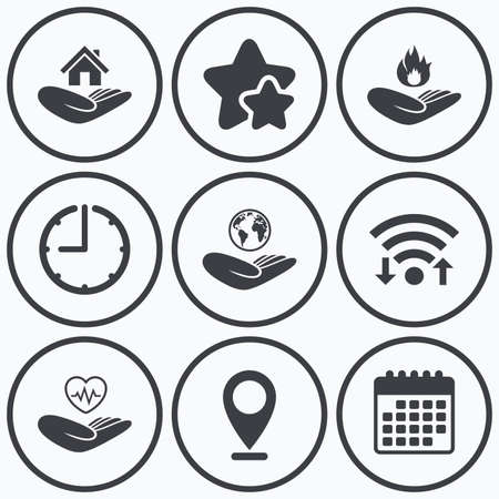best shelter: Clock, wifi and stars icons. Helping hands icons. Health and travel trip insurance symbols. Home house or real estate sign. Fire protection. Calendar symbol.