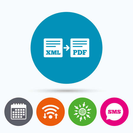 xml: Wifi, Sms and calendar icons. Export XML to PDF icon. File document symbol. Go to web globe. Illustration