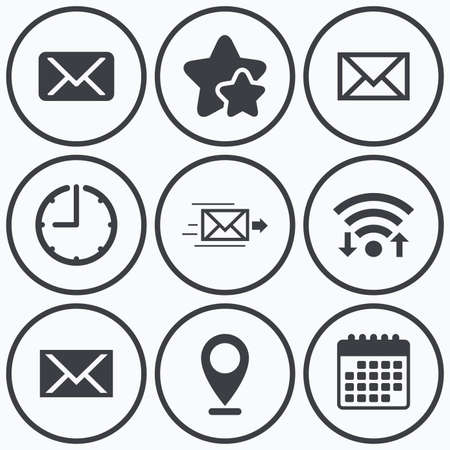 webmail: Clock, wifi and stars icons. Mail envelope icons. Message delivery symbol. Post office letter signs. Calendar symbol.