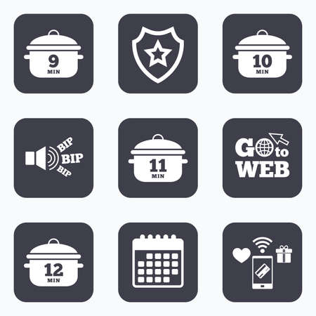 10 12: Mobile payments, wifi and calendar icons. Cooking pan icons. Boil 9, 10, 11 and 12 minutes signs. Stew food symbol. Go to web symbol.