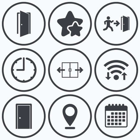 emergency exit icon: Clock, wifi and stars icons. Automatic door icon. Emergency exit with human figure and arrow symbols. Fire exit signs. Calendar symbol.