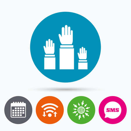 polling: Wifi, Sms and calendar icons. Election or voting sign icon. Hands raised up symbol. People referendum. Go to web globe. Illustration