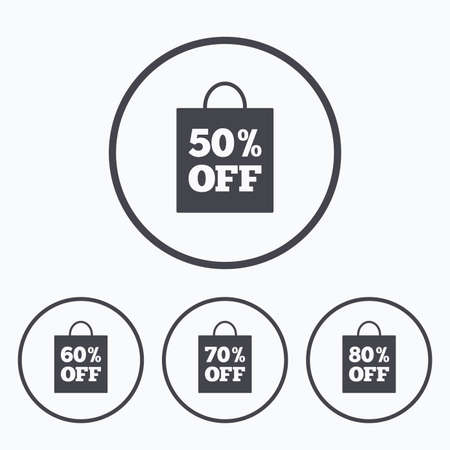 50 to 60: Sale bag tag icons. Discount special offer symbols. 50%, 60%, 70% and 80% percent off signs. Icons in circles. Illustration