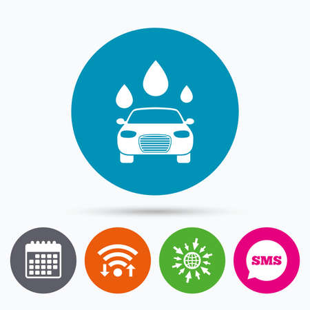 automated teller: Wifi, Sms and calendar icons. Car wash icon. Automated teller carwash symbol. Water drops signs. Go to web globe.