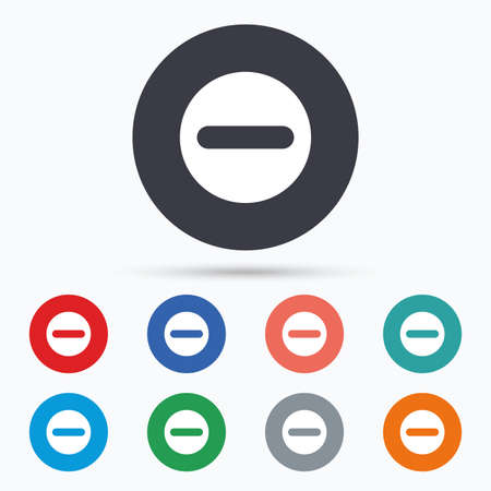 minus: Minus sign icon. Negative symbol. Flat minus icon. Simple design minus symbol. Minus graphic element. Circle buttons with minus icon. Vector