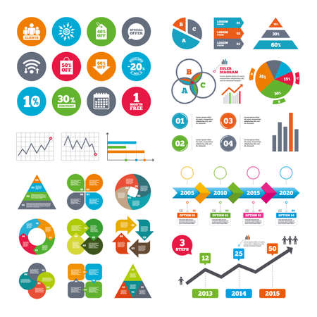 20 30: Wifi, calendar and web icons. Sale discounts icon. Shopping, clients and speech bubble signs. 20, 30, 40 and 50 percent off. Special offer symbols. Diagram charts design.