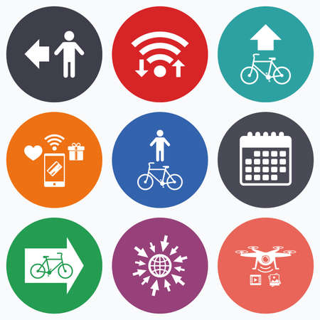 trail sign: Wifi, mobile payments and drones icons. Pedestrian road icon. Bicycle path trail sign. Cycle path. Arrow symbol. Calendar symbol. Illustration