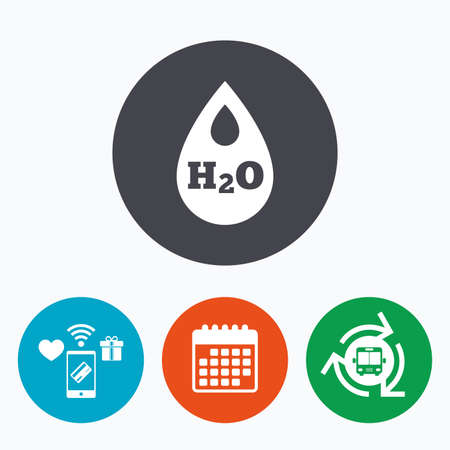 tear drop: H2O Water drop sign icon. Tear symbol. Mobile payments, calendar and wifi icons. Bus shuttle.