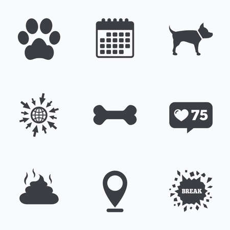 feces: Calendar, like counter and go to web icons. Pets icons. Dog paw and feces signs. Clean up after pets. Pets food. Location pointer. Illustration