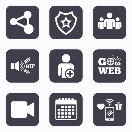 users video: Mobile payments, wifi and calendar icons. Group of people and share icons. Add user and video camera symbols. Communication signs. Go to web symbol.